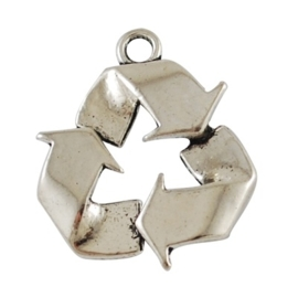 Tibetaans zilveren bedel Recycle Recycling symbool 28 x 24 x 3mm oogje: 3mm