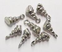 4 x Antiek zilveren metalen bedel hoorn-schelpje 14 mm