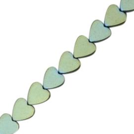 5 x Hematite kralen hart 6mm Indicolite blue