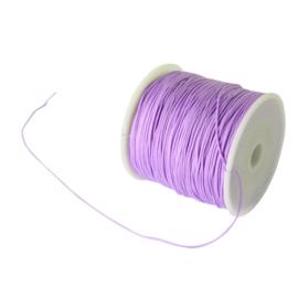 1 rol 90 meter gevlochten nylon koord, imitatie zijden draad 0,8mm lilac