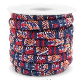 20 cm Trendy gestikt koord 6x4mm Multicolor dark blue-red-orange
