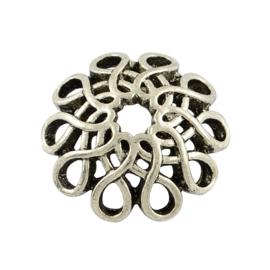 2 x Prachtig mooie grote Tibetaans zilveren kralenkap Ø 17,5mm x 5mm gat: 2,5mm