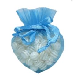 20 stuks luxe hartvormige organza zakjes 10cm x 8.75cm blauw