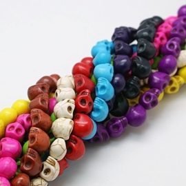10 mix keramiek Howlite skulls mix  c.a. 10mm Gat: 1mm  assortiment