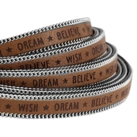 20 cm Quote imi leer 10mm met schakelketting zilver Wish dream believe Rust brown