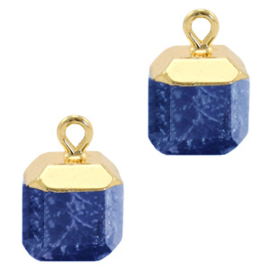 1 x Natuursteen hangers square Dark blue-gold Lapis Lazuli