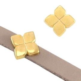 1x DQ metaal schuiver bloem Goud Ø5.2x2.2mm