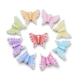 25 x Vrolijke gemixte acryl kralen vlinder