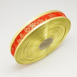 1 meter organza lint met goud glitter 25mm rood ster met metaaldraad