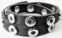 Dubbele drukker armband van runderleder en drukknoopsluiting dubbele rij voor zes verwisselbare drukkers zwart 46cm