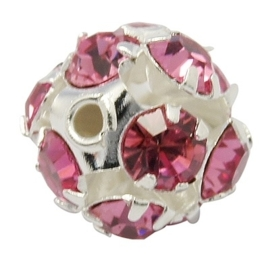 Verzilverde kristal ballen 12mm deep pink