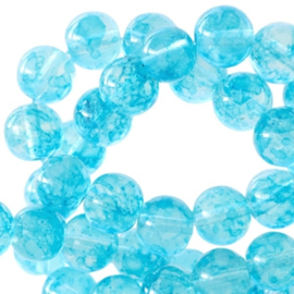 50 x 4 mm glaskralen transparant gemêleerd Aqua blue
