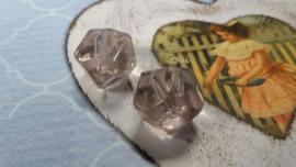 5x Lila Transparant Glaskraal 11 x 12 mm   Gat   1,5mm