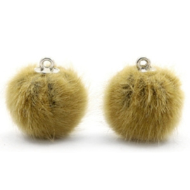 2 x Pompom bedels faux fur 16mm Light olive green