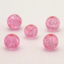 30 stuks crackle glas kralen 8mm roze