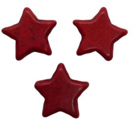 5 x Keramiek turquoise ster rood 15 mm gat 2 mm