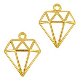 DQ metalen bedels diamant Goud (nikkelvrij) ca. 18x16mm (Ø1.2mm)