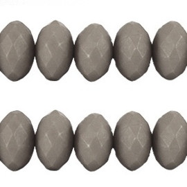 20 stuks Acryl facet kralen disc 6 x 4 mm  Monument grey