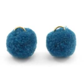 2 x Pompom bedel met oog 15mm Cerulean blue
