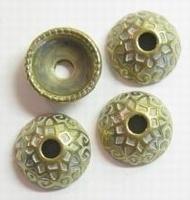 10 x goud/zilver metallook kraalkapje 16 mm
