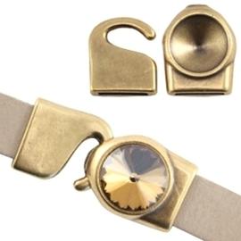 DQ metaal setting/haakslot voor 12mm Antiek brons (nikkelvrij)
