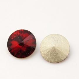 5 x Puntsteen Rivoli Preciosa voor Puntsteen SS50 Setting c.a.12 x 6mm Bordeaux rood