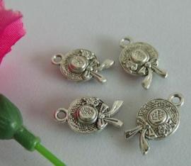 4 x tibetaans zilveren zonnehoedje 17 x 10 x 3mm