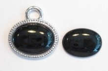 3x Plaksteen glas ovaal Zwart 20 mm  (excl. houder)