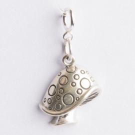 Be Charmed bedel paddestoel met karabijnsluiting zilver met een rhodium laag (nikkelvrij)