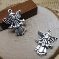 2 x Prachtige engel van Tibetaans zilver 22x17mm, Oogje c.a. 1-3mm