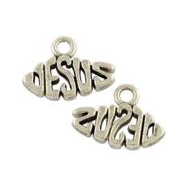 10 stuks tibetaans zilveren bedel  Jesus 11 x 15 x 2mm, oogje 2mm