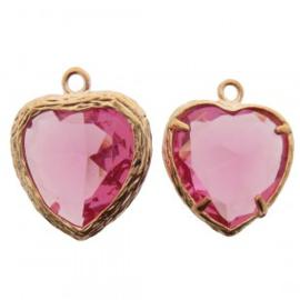 Bedel metaal hart cubic zirconia facet roze rosé goud 16x19mm