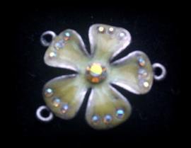 Per stuk antiek zilveren metalen hanger/tussenzetsel bloem ecru/oker geel/bruin 24 mm