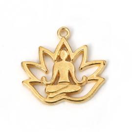 1x DQ metaal bedel lotus gold plated (nikkelvrij) 8 x 17mm oogje 1.1mm