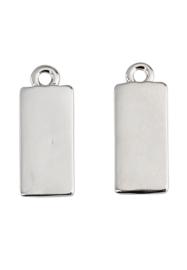2 x metalen naamlabel hangers rechthoek 20x8mm nikkelkleur