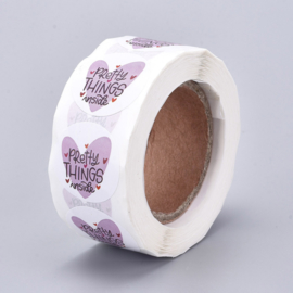 1 rol 500 stickers Wensetiket zegel rond 25mm Pretty Things inside