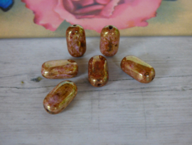5 x  goud/bruin gemeleerde kraal plat/ovaal  ca. 7.5mm  Gat: 1.2mm