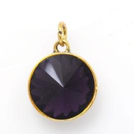 Geboorte steen hanger prachtig kristal facet 18 x 12mm - Februari Amethist goudkleur