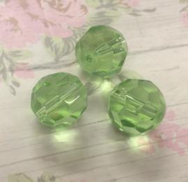 5 Stuks groene glazen facet kralen 14 mm gat 1 mm