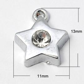 2 x zware kwaliteit metalen strass hanger platinum 13 x 11 x 3mm gat 1mm