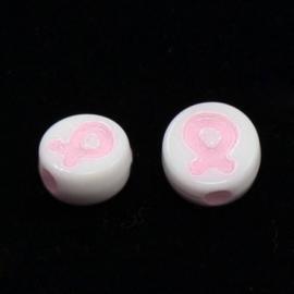 Zakje met 25 acryl kralen, plat rond met een awareness ribbon 8mm Gat 1mm