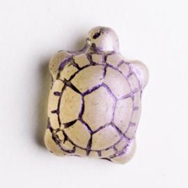 5  x schildpad kraal 19x14x8 mm kleur: transparant paars gat: 1mm