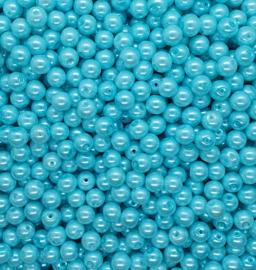 30 stuks glasparels 8mm gat c.a. 1mm kleur Licht Blauw
