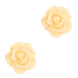 2 x Roosjes kralen 10mm Pastel yellow gat: 1,2mm