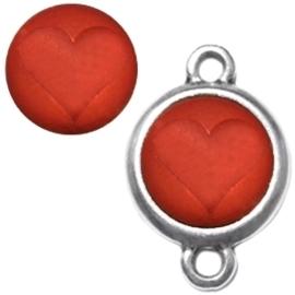 3 x Polaris cabochon hart matt 15 mm Red magma zonder houder