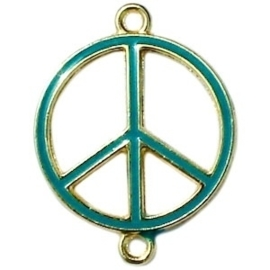 Bedel goud 2 ogen peace Emerald blue zircon ca. 29 x 22 mm