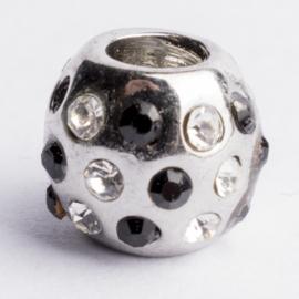 Be Charmed kraal zilver met een rhodium laag (nikkelvrij) c.a. 9 x 8mm groot gat: 4.3mm