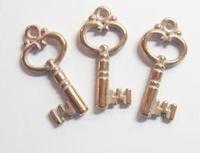 10x koper-roze/zilver metallook hanger sleutel 25 mm