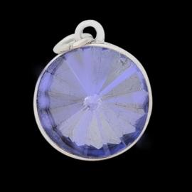 Geboorte steen hanger prachtig kristal facet 18 x 12mm - Juni Licht Ametist zilverkleur
