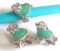 Per stuk European Jewelry kraal hartjes turqoise met strass antiek zilver 15 mm